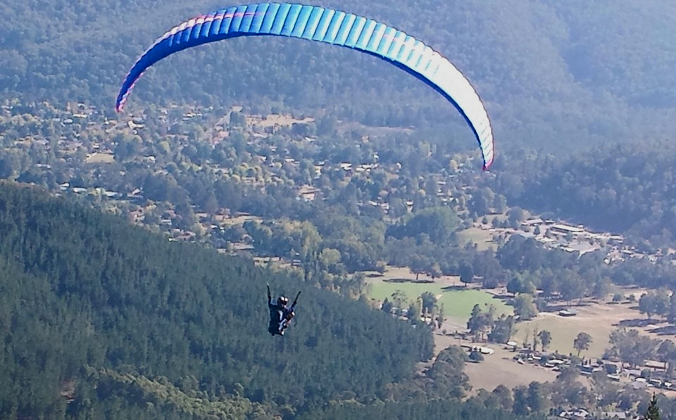 The author paragliding