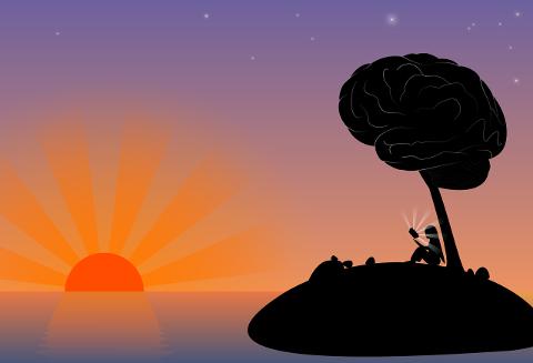 Woman sittin on an island under a tree that is a brain