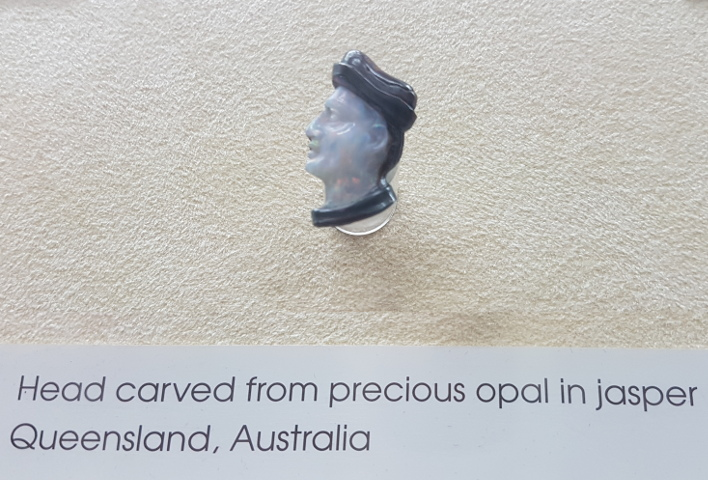Head carved from precious opal