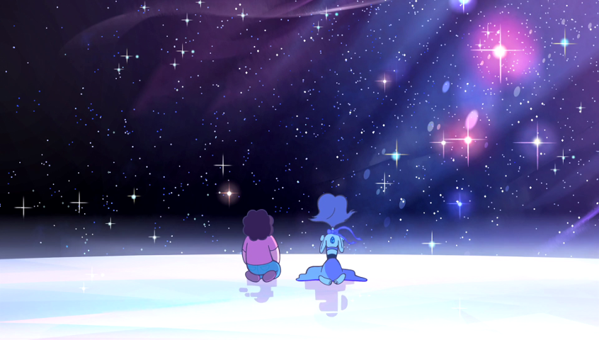Scene from Steven Universe: Steven and Lapis Lazuli sit contemplating the stars Lapis wants to reach