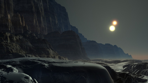 Alien landscape with two suns