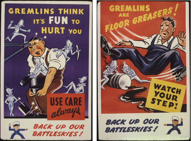 Pair of World War II posters warning about gremlins