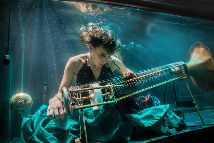 A member of underwater band Aquasonic plays the rotacorda
