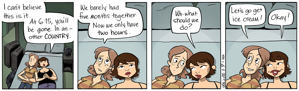 Girls With Slingshots comic featuring asexual character Erin and her girlfriend Jamie