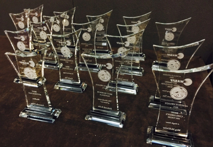 Trophies for the 2015 Aurealis awards