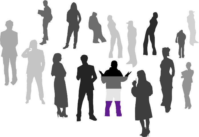 A crowd of greyscale silhouettes of different people standing around. In the middle of the group, a silhouette in the colours of teh asexual pride flag has their arms raised in confusion.
