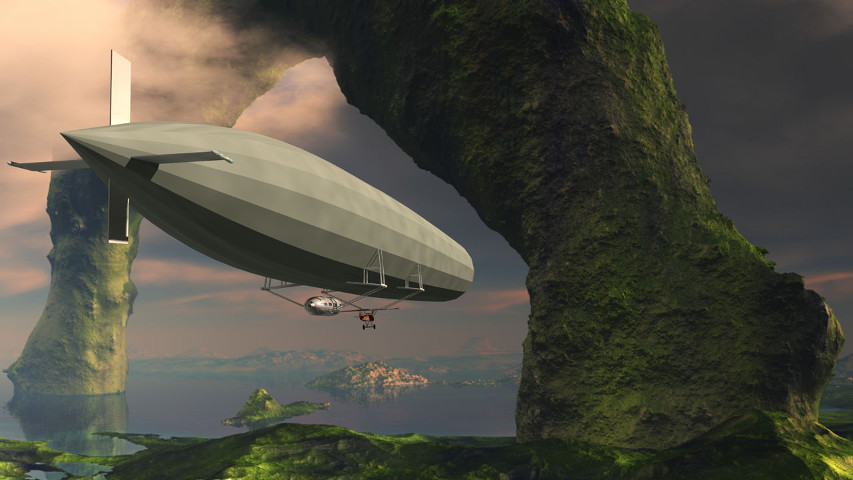 Airship in flight