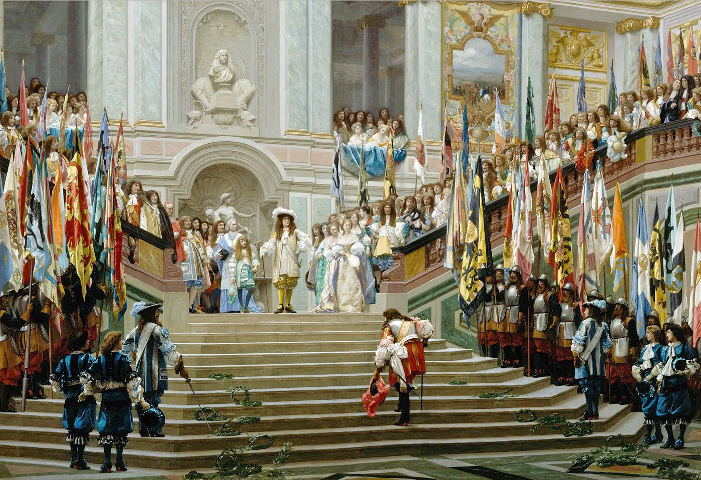 Reception of the Grand Condé at Versailles following his victory at Seneffe. Condé advances towards Louis XIV in a respectful manner with laurel wreaths on his path, while captured enemy flags are displayed on both sides of the stairs.