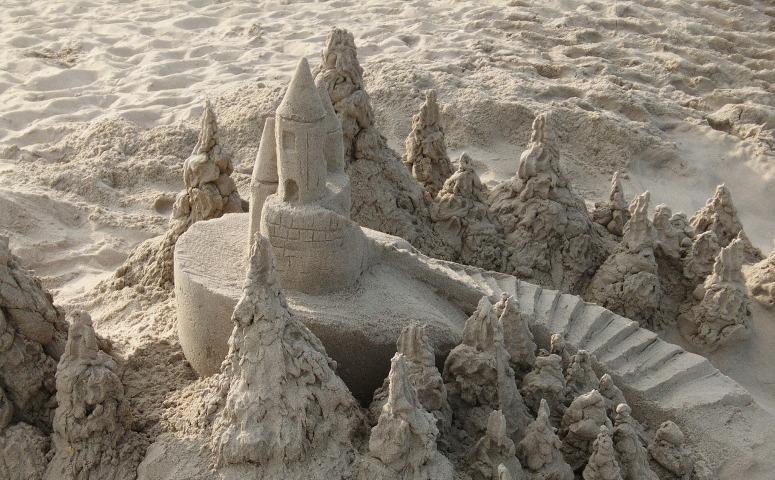 A half-formed sandcastle
