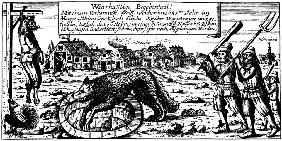 Late 17th Century illustration of the Werewolf of Ansbach being hunted and later hanged