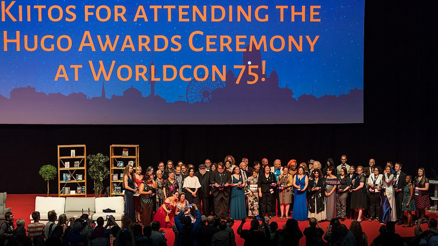 Group photo on stage of all participants in the 2017 Hugo Awards